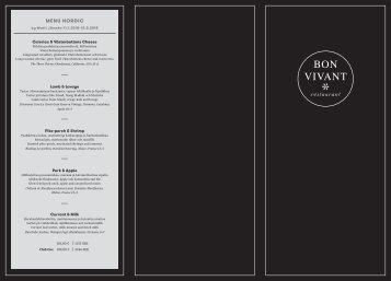 Bon Vivant menu 11.1.-15.5.2018, Silja Serenade & Silja Symphony