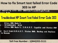 1(800)576-9647 How to fix Smart test failed Error Code 303 in HP