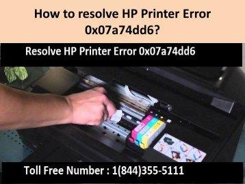 1(844)355-5111 How to resolve HP Printer Error 0x07a74dd6