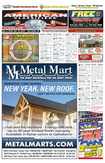 American Classifieds Jan. 4th Edition Bryan/College Station