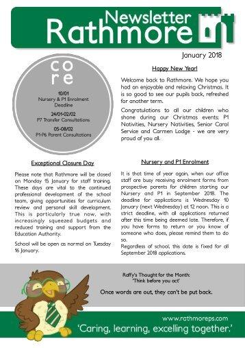 January Newsletter 2018