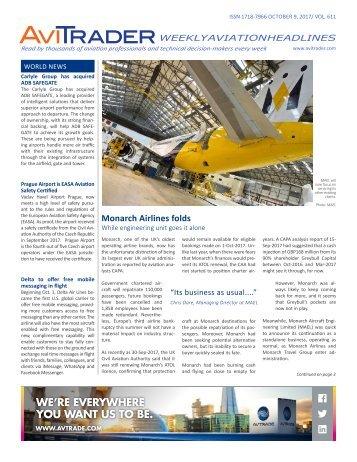 AviTrader Weekly News 2017-10-09