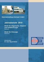 Jahresbericht 2010 - Kreiskrankenhaus Delitzsch GmbH, Kliniken ...