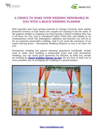 A CHOICE TO MAKE YOUR WEDDING MEMORABLE IN GOA