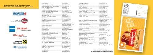 Gutscheine erhalten Sie bei allen Filialen folgender Geldinstitute ...