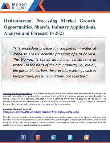 Hydrothermal Processing Market  2021 - Industry Analysis, Size, Share and Forecast Report
