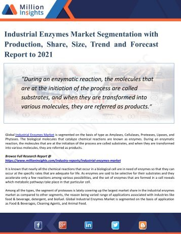 Industrial Enzymes Market - Industry Capacity, Production, Revenue, Price and Gross Margin 2016-2021