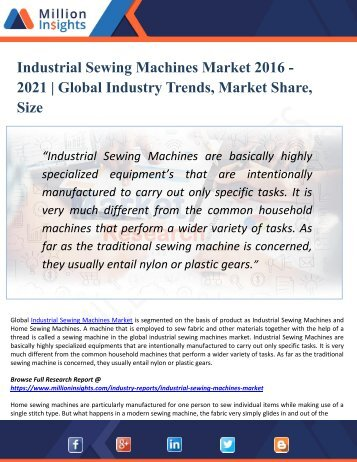 Industrial Sewing Machines Market Analysis, Development Trends and Share by Application up to 2021