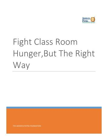 Fight Classroom Hunger, but the right way
