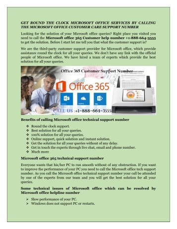 Microsoft office 365 Customer Care Number +1-888-664-3555