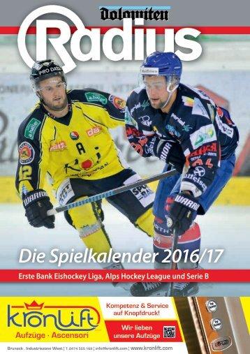 Radius Eishockey Spielkalender 16_17