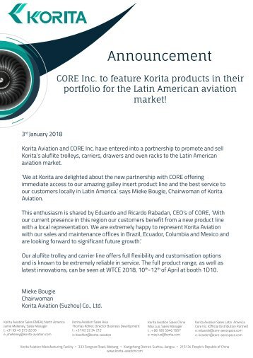 CORE Inc. to feature Korita products in their portfolio for the Latin American aviation market