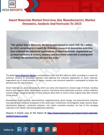 Smart Materials Market Overview, Key Manufacturers, Market Dynamics, Analysis And Forecasts To 2025