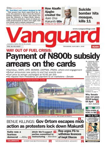 04012018 - WAY OUT OF FUEL CRISIS: Payment of N800b subsidy arrears on the cards