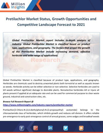 Pretilachlor Market Status, Growth Opportunities and Competitive Landscape Forecast to 2021