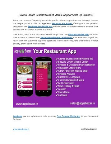 How to Create Best Restaurant Mobile App for Start-Up Business