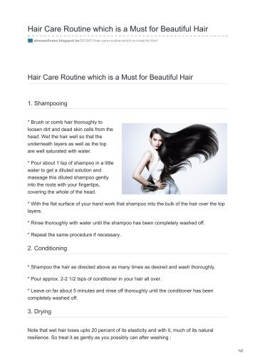 Hair Care Routine which is a Must for Beautiful Hair