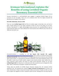 Aromaaz International explains the Benefits of using Certified Organic Rosemary Essential Oils