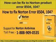 Call 1-888-909-0535 How to Fix Norton Antivirus Error 8504, 104?