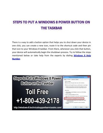 Steps to Put a Windows 8 Power Button on the Taskbar