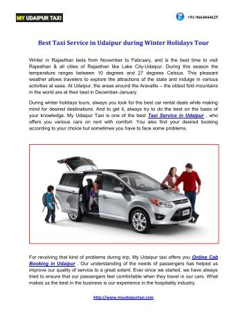 Best Taxi Service in Udaipur During Winter Holidays Tour