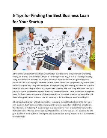 5 Tips for Finding the Best Business Loan for Your Startup