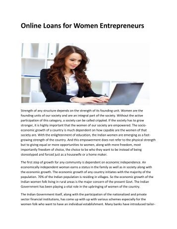 Online Loans for Women Entrepreneurs