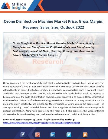 Ozone Disinfection Machine Market Price, Gross Margin, Revenue, Sales, Size, Outlook 2022
