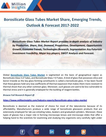 Borosilicate Glass Tubes Market Share, Emerging Trends, Outlook & Forecast 2017-2022