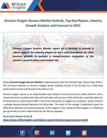 Zirconia Oxygen Sensors Market Outlook, Top Key Players, Industry Growth Analysis and Forecast to 2021