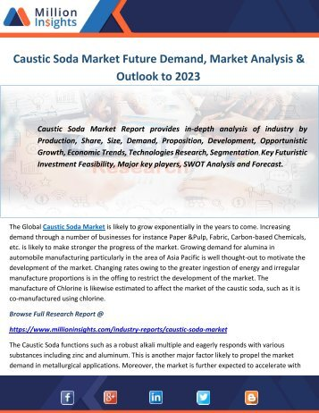 Caustic Soda Market Future Demand, Market Analysis & Outlook to 2023