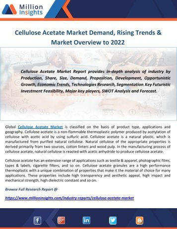 Cellulose Acetate Market Demand, Rising Trends & Market Overview to 2022