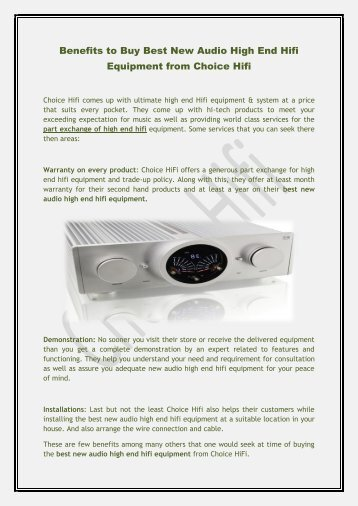 Benefits to Buy Best New Audio High End Hifi Equipment from Choice Hifi