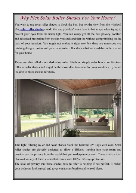 Why Pick Solar Roller Shades For Your Home