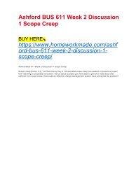 Ashford BUS 611 Week 2 Discussion 1 Scope Creep
