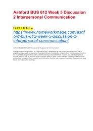 Ashford BUS 612 Week 5 Discussion 2 Interpersonal Communication