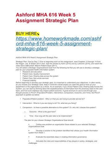 Ashford MHA 616 Week 5 Assignment Strategic Plan