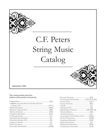 C.F. Peters String Music Catalog - Peters Edition Ltd