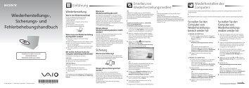 Sony VPCJ12L0E - VPCJ12L0E Guide de dépannage Allemand