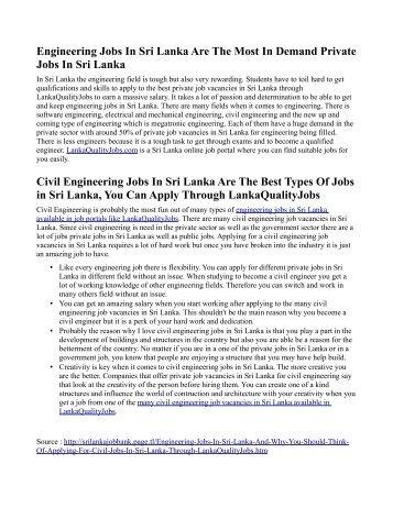 Engineering Jobs In Sri Lanka