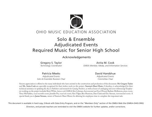 Solo & Ensemble Adjudicated Events Required Music for Senior