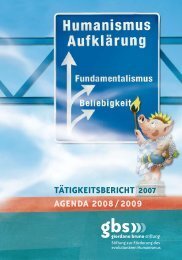 A TäTigkeiTsberichT - Giordano Bruno Stiftung