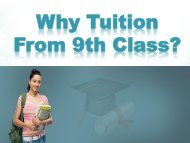 Why Tuition From 9th Class