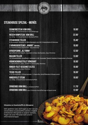 Speisekarte Steakhouse Isselburg