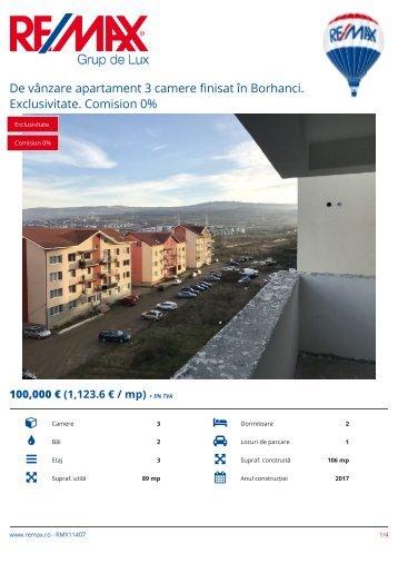 RMX11407 - De vanzare apartament 3 camere finisat in Borhanci. Exclusivitate. Comision 0% [RO]