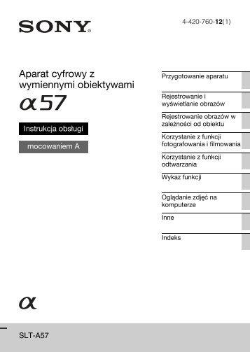 Sony SLT-A57M - SLT-A57M Consignes d'utilisation Polonais