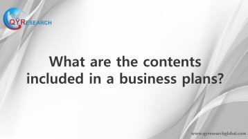 What are the contents included in a business plans?