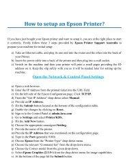 How to setup an Epson Printer?
