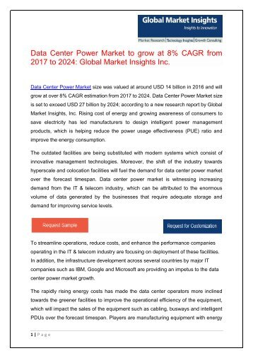 Data Center Power Market forecast to surpass $27bn by 2024