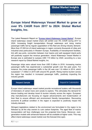 Europe Inland Waterways Vessel Market Analysis, Report, Trends and Forecast, 2017-2024
